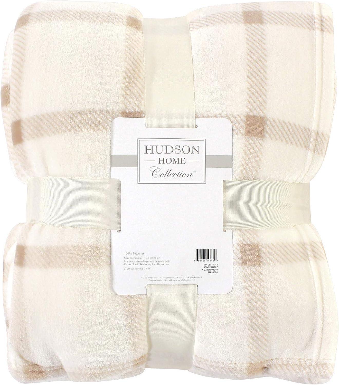 HUDSON HOME COLLECTION Silky Plush Blanket, Tan Plaid, Throw