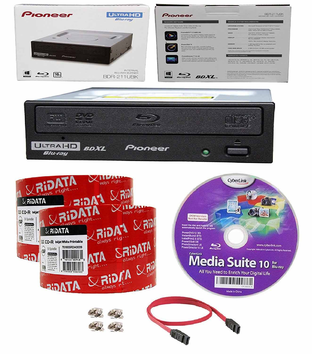 Pioneer 16x BDR-211UBK Internal Ultra HD Blu-ray BDXL Burner, Cyberlink Software and Cable Accessories Bundle with 100pk CD-R RiDATA White Inkjet Printable