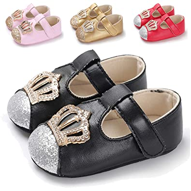 2dfe38256a717 TIMATEGO Baby Girls Mary Jane Flats Non-Slip Toddler Infant First Walkers  Princess Dress Shoes