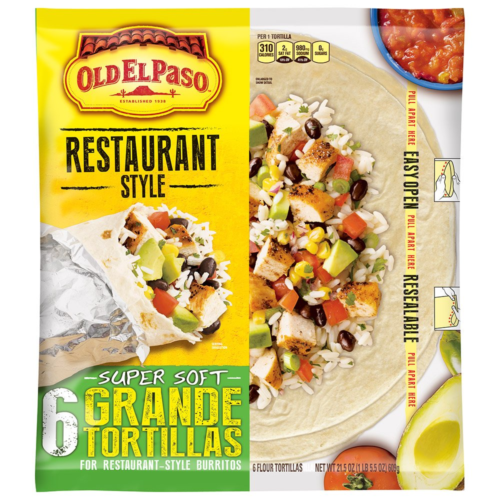 Old El Paso Restaurant Grande Flour Tortillas, 21.5 Ounce (Pack of 5) by Old El Paso