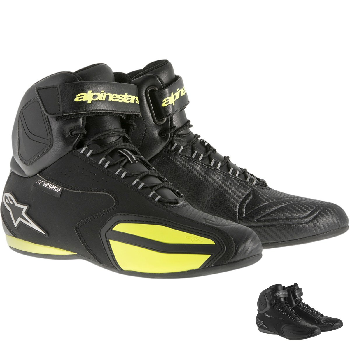 Alpinestars Faster Waterproof Street Riding Motorcycle Shoes Black/Yellow Mens Size 11