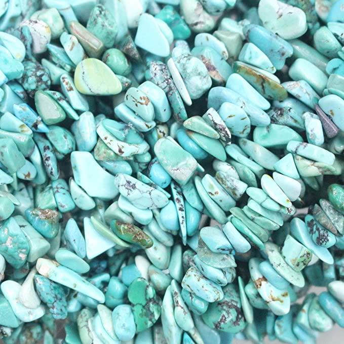 """6 X 3-8 X 5MM TURQUOISE HOWLITE GEMSTONE CHIP LOOSE BEADS 15/"""""""