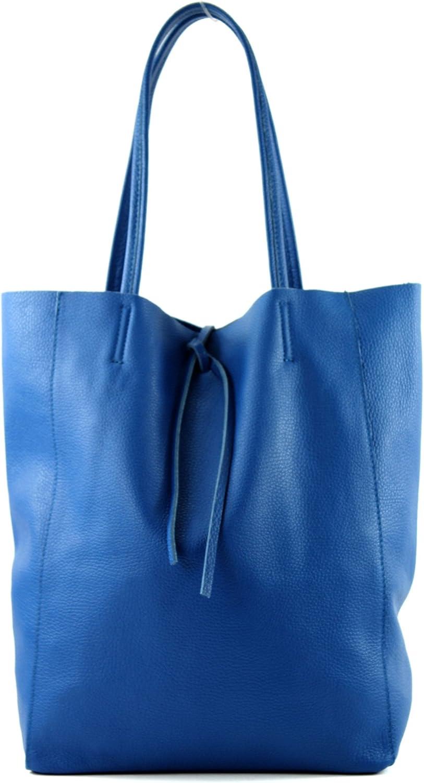 modamoda de - T163 - Ital. Shopper mit Innentasche aus Leder Blau