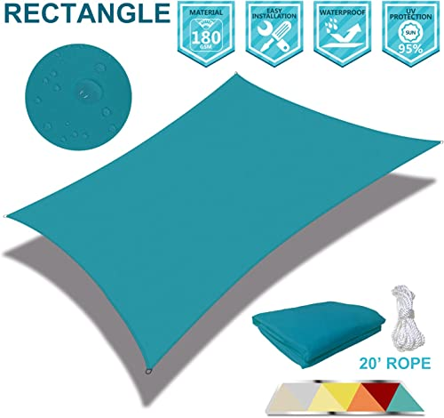Coarbor 10 x 13 Rectangle Light Green Waterproof Sun Shade Sail Perfect for Patio Outdoor Garden