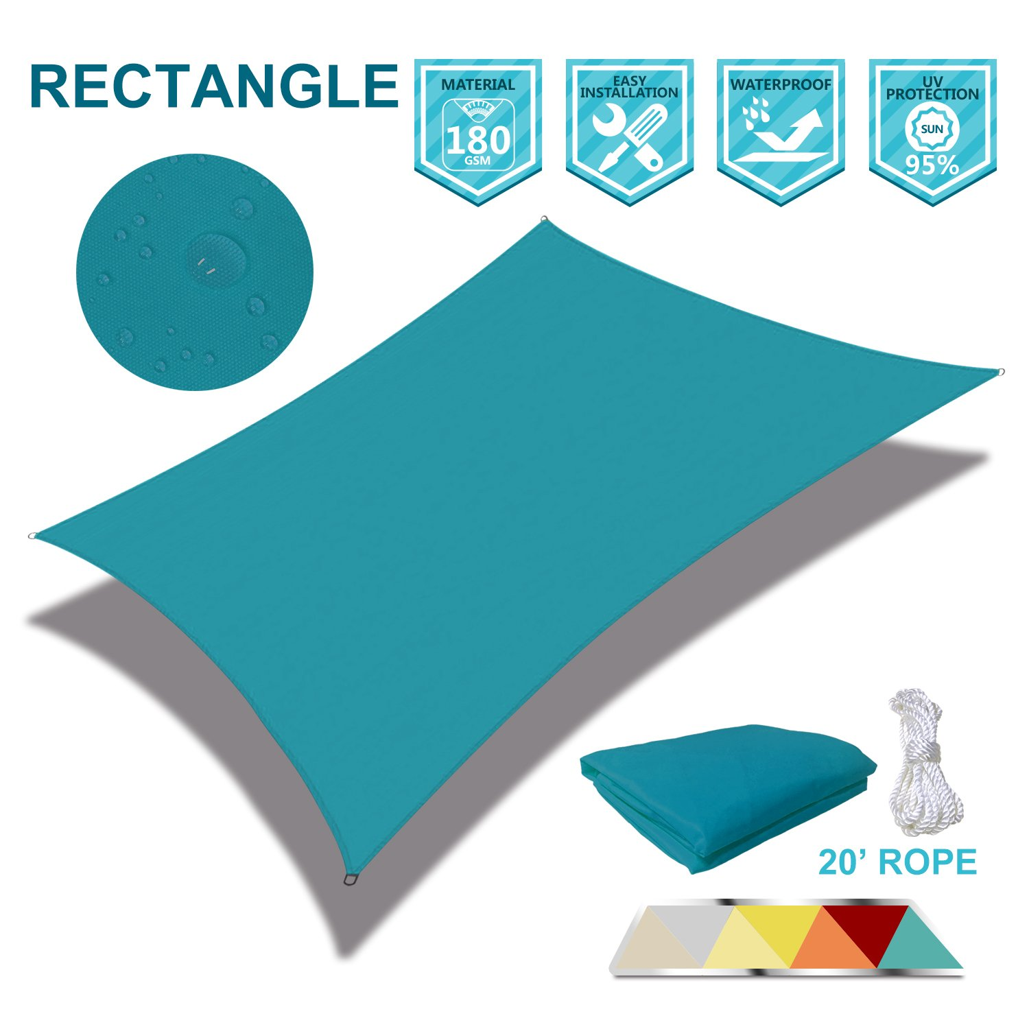 Coarbor Waterproof 8 x12 Sun Shade Sail Canopy Customized Rectangle Polyester for Pergola Carport Awning Patio Yard UV Block- Make to Order-Turquoise Green