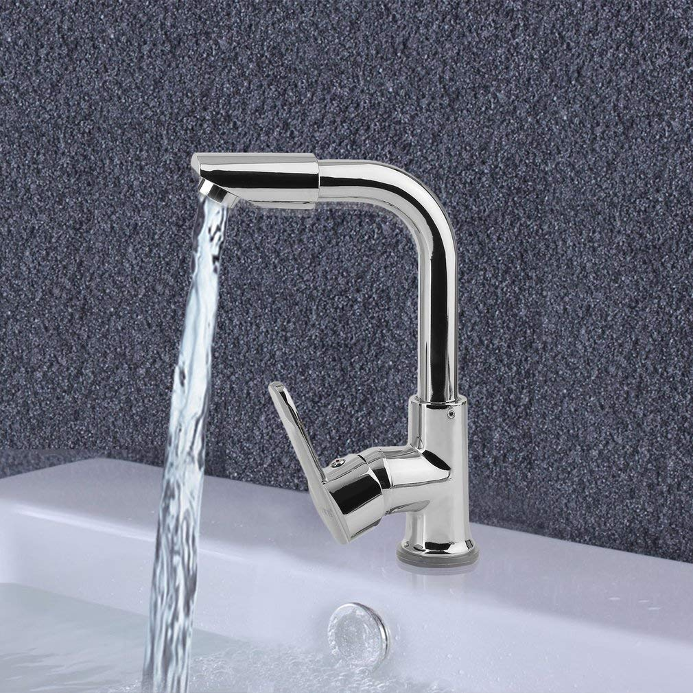 Simoner Rotatable Kitchen & Bar Sink Faucet, Single Handle One Hole Mixer Tap, Zinc Alloy Water Tank Bathroom Faucet With Hot And Cold Water Pipe