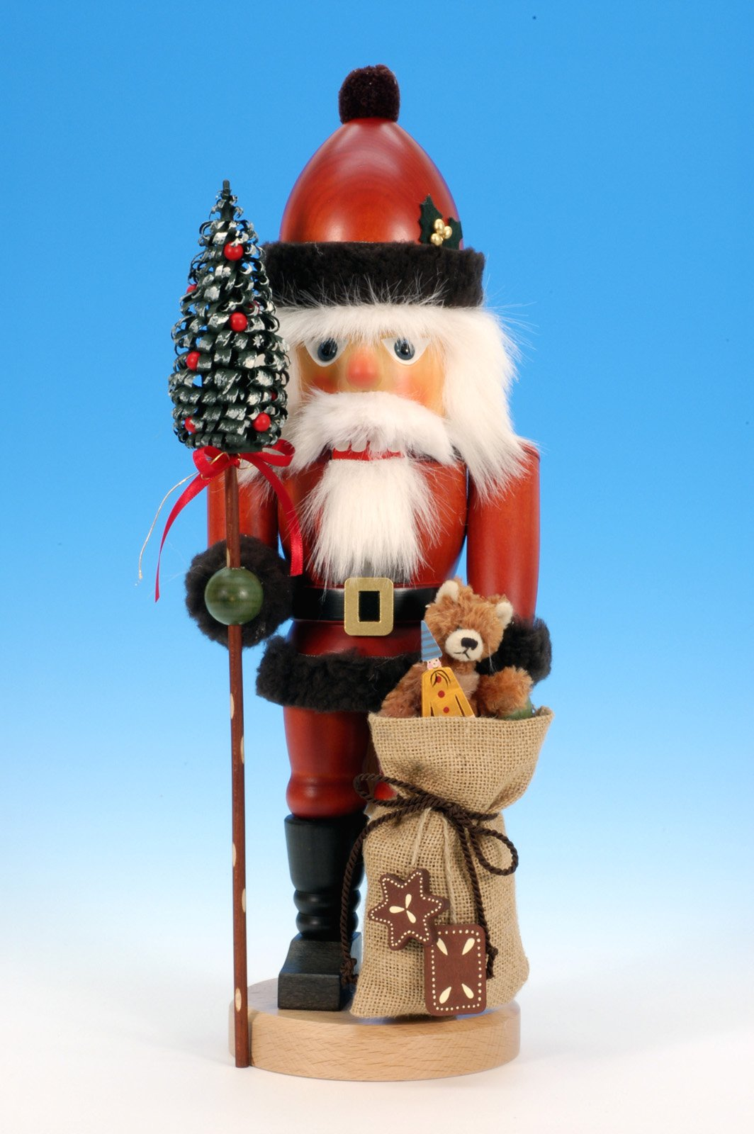 German Christmas Nutcracker Santa Claus with Teddy - 44,5 cm / 18 inch - Authentic German Erzgebirge Nutcrackers - Christian Ulbricht by Christian Ulbricht