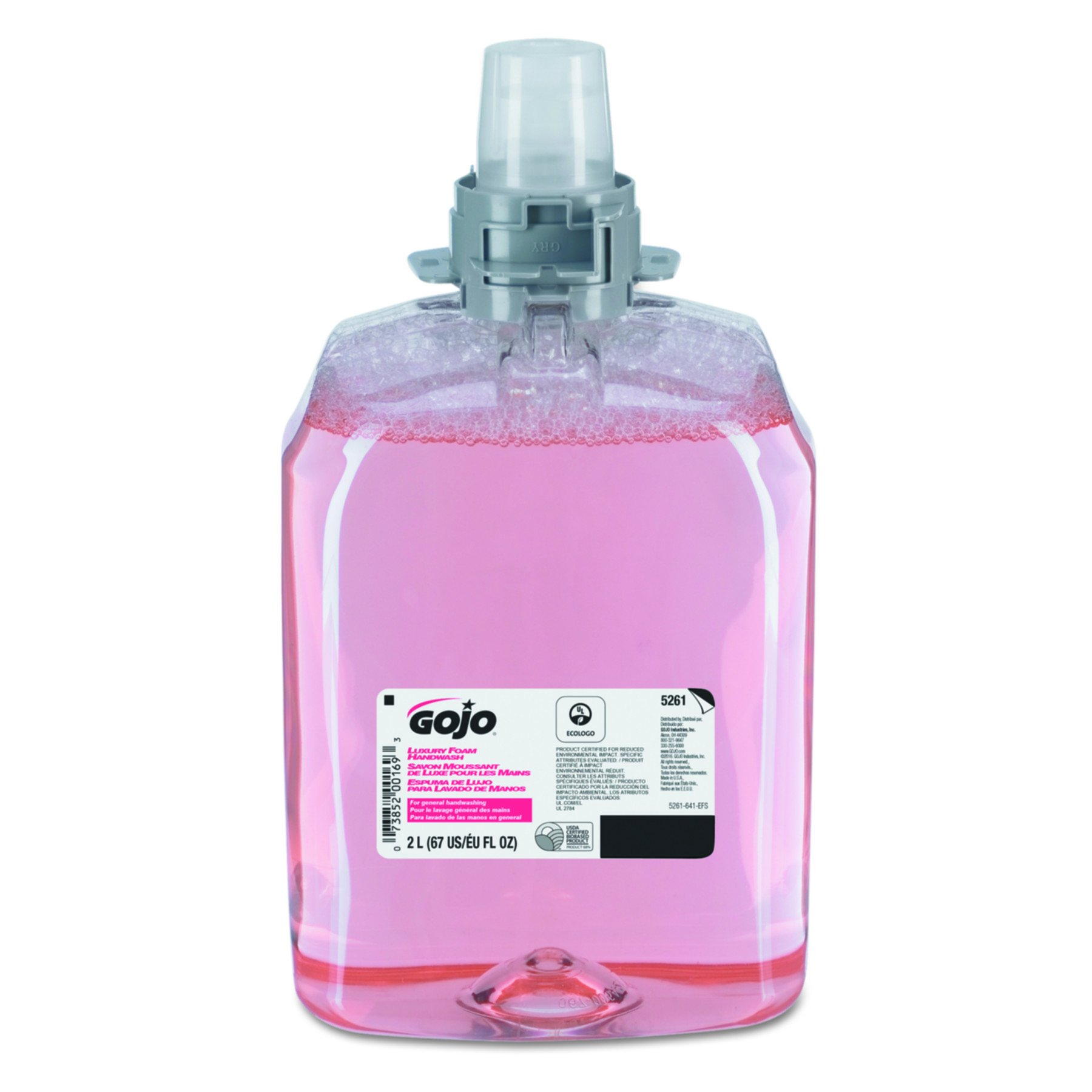 GOJO 5261-02 2000 mL Luxury Foam Handwash, FMX-20 Refill (Case of 2),Translucent Pink,Compatible with Dispenser #5250-06, 5255-06