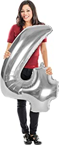 Silver Number 4 Balloon 40 Inch Silver Foil Balloon for Birthday Anniversary Prom Homecoming Bachelorette Engagement Baby Shower Wedding Graduation Photo Booth Backdrop Party Decorations