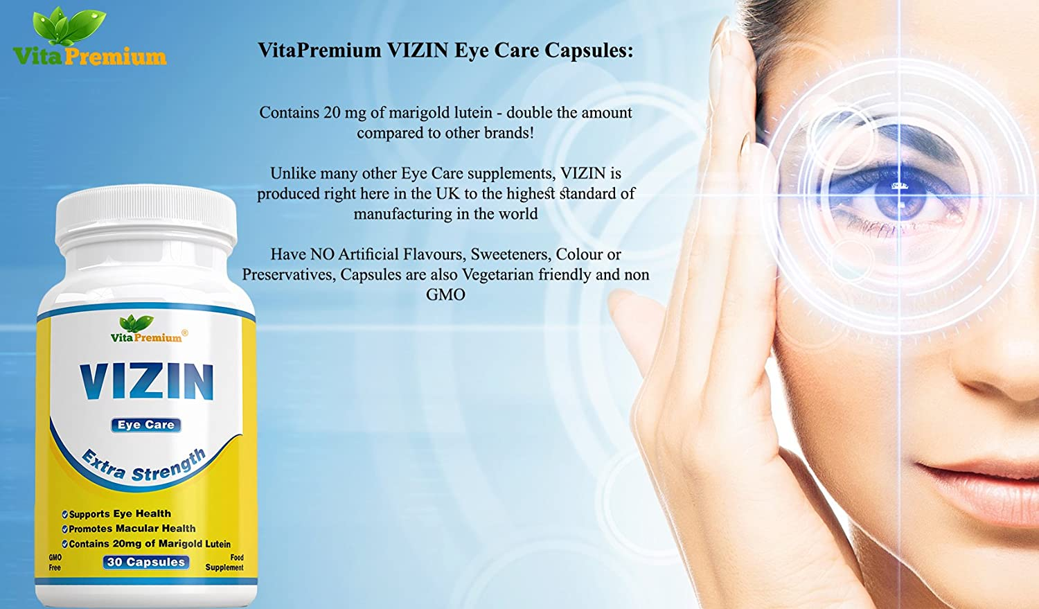 Vizin Eye Care Extra Strength 30 Veg Capsules 20mg Marigold Softgel Green World Lutein With Bilberry Extract And Zeaxanthin Helps Support Health Promotes Macular