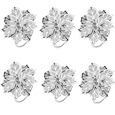 TTOYOUU Alloy Napkin Rings with Delicately Hollow Out Flower Wedding Banquet Dinner Decor Favor,Pack of 6 (Silver)