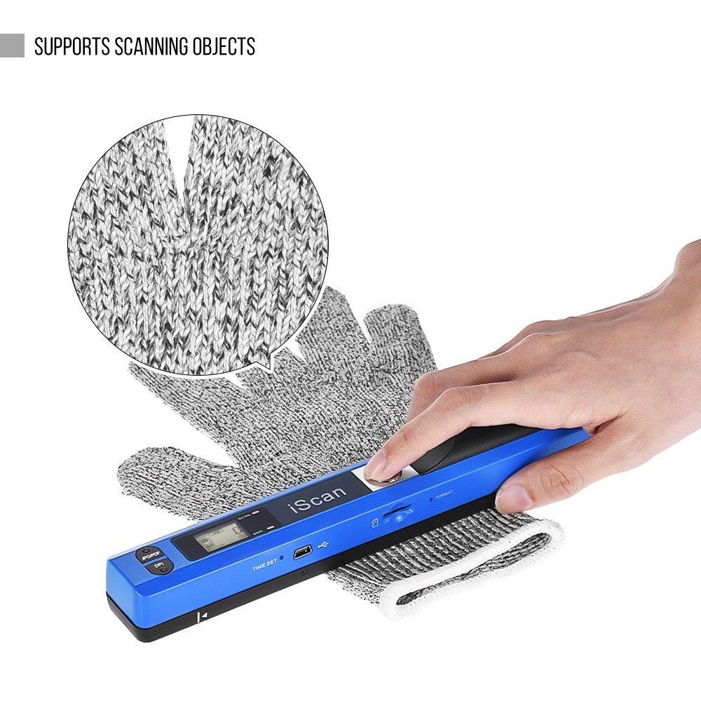 Festnight Scanner portatile a mano senza fili Scanner A4 Formato 900DPI JPG//PDF Display LCD formato con busta protettiva e 8GB Carta di TF per documenti aziendali Libri Reciepts Immagini