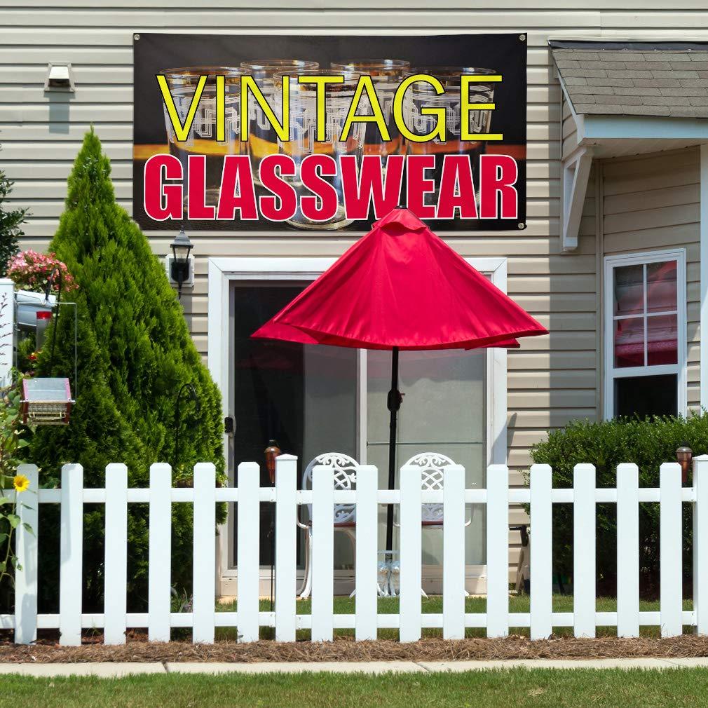 8 Grommets One Banner Multiple Sizes Available Vinyl Banner Sign Vintage Glass wear Vintage Outdoor Marketing Advertising Black 44inx110in