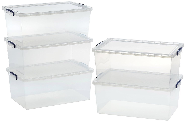 AmazonBasics - Cajas de almacenamiento de plástico con tapas (transparente, 62 litros, 5 unidades): Amazon.es: Oficina y papelería