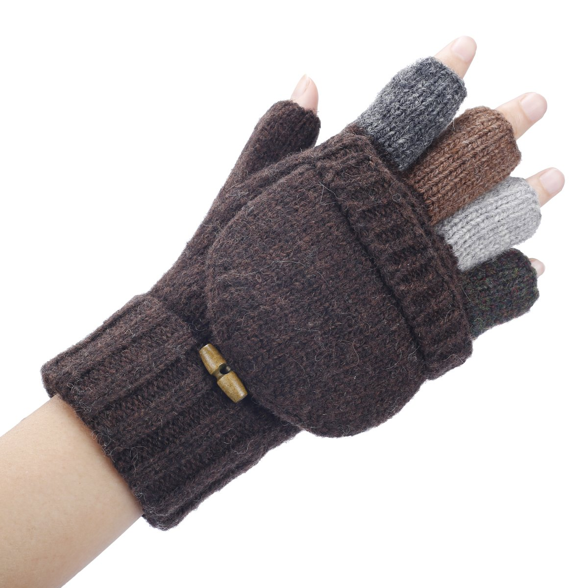 Man Knitted Wool Fingerless Half Finger Mittens Riding Warm Gloves Out//Indoor