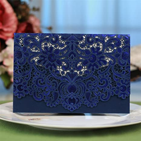 certainPL Elegant Invitations Cards Kits 10Pcs Laser Cut Lace Wedding Party Invitations Cards with Printable Paper and Envelopes for Engage T Wedding Marriage Birthday Party 18.5 * 12.5cm Blue