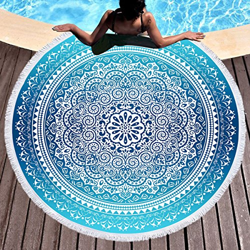 (Sleepwish Indian Round Mandala Beach Towel Bohemian Large Roundie Beach Blanket with Tassels Yoga Mat Tablecloth (Aqua Blue Green,)