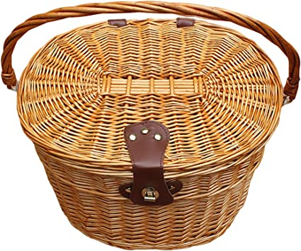 WICKER BICYCLE FRONT PICNIC BASKET WITH LID /& CARRY HANDLE SHOPPING  !! !!