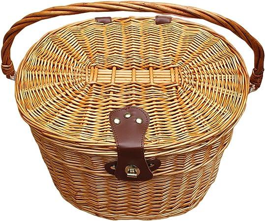 Bike Basket Wicker Woven Bicycle Front Basket Handlebar Retro Bike Storage Case