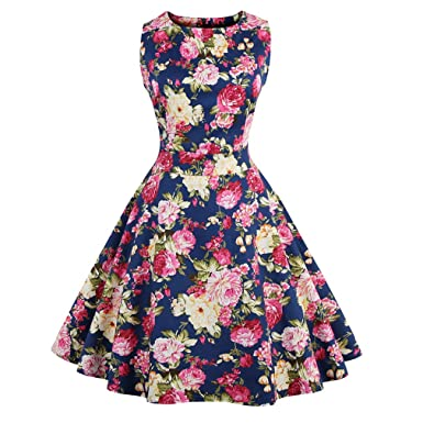 KeKeD23921 Summer Dress For Women Floral Print Retro Vintage Dress Elegant Style Casual Party Office Dress