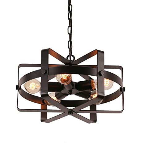 Unitary Brand Antique Black Metal Drum Shape Round Pendant Light with 5 E26 Bulb Sockets 200W  sc 1 st  Amazon.com & Unitary Brand Antique Black Metal Drum Shape Round Pendant Light ...