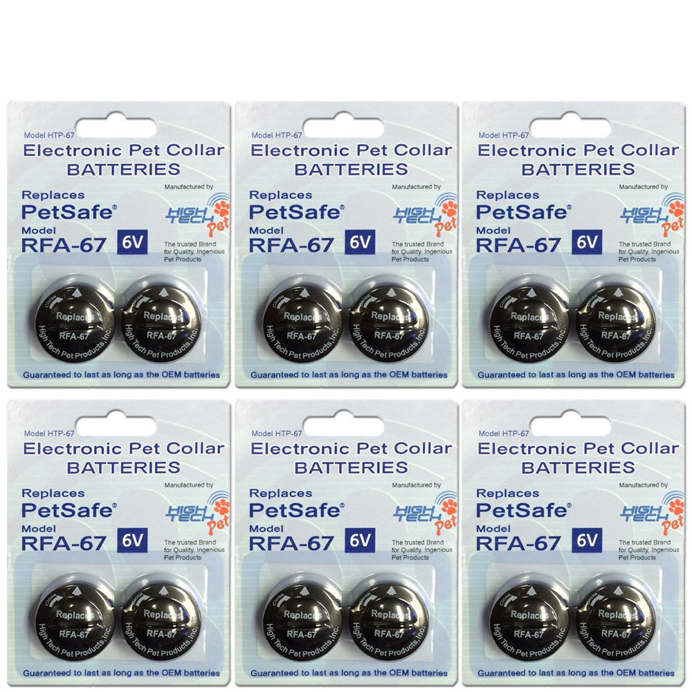 High Tech Pet RFA-67 Petsafe Compatible 6-Volt Trusted Electronic Pet Collar Replacement Battery (12) Pack