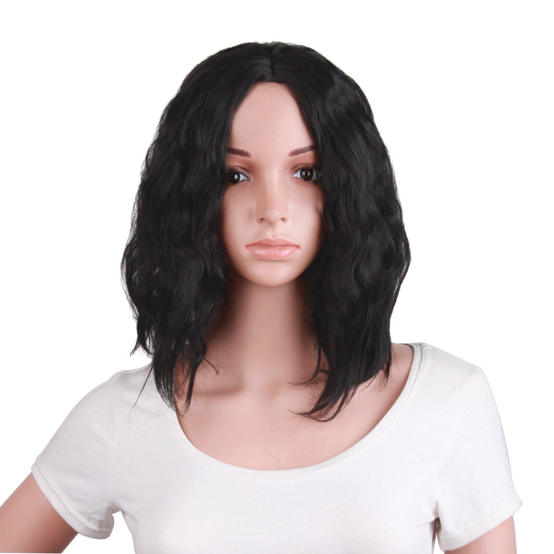 MapofBeauty 14 Pulgada/35cm Peluca Del Juego De Rol Del Pelo Rizado Corto De La Naturaleza Femenina Atractiva Lateral De La Moda (marrón negro)