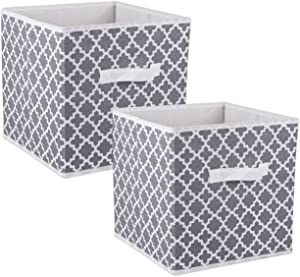 DII CAMZ38463 Foldable Fabric Storage Containers (Set of 2), Large (2), Gray