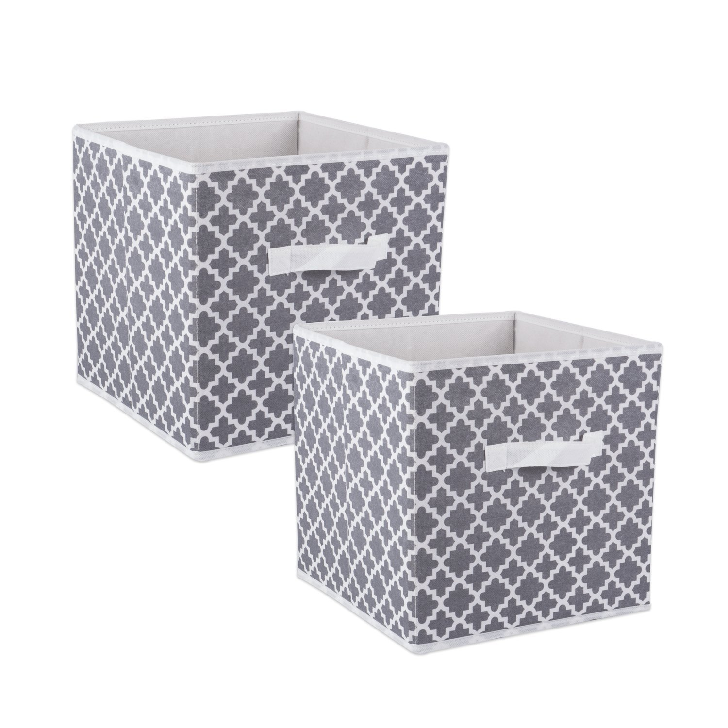 DII Fabric Storage Bins for Nursery, Offices, & Home Organization, Containers Are Made To Fit Standard Cube Organizers (13x13x13'') Lattice Gray - Set of 2