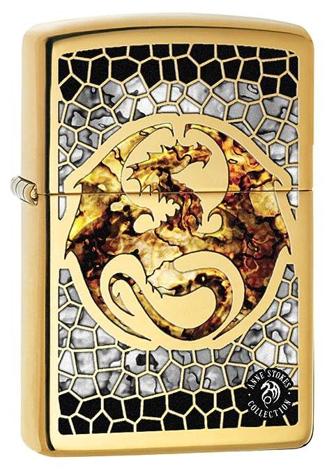 Zippo Lighter: Anne Stokes dragón, Fusion – Alta Polaco latón