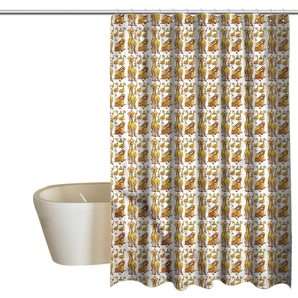 Denruny Shower Curtains White and Grey Giraffe,Exotic Fauna Wildlife,W72 x L96,Shower Curtain for Shower stall