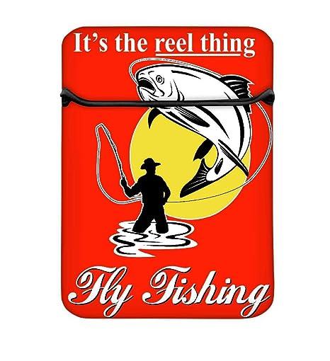 Snoogg Mosca Pesca Captura Trucha con Mosca Carrete 14 Inch fácil acceso funda acolchada para portátil