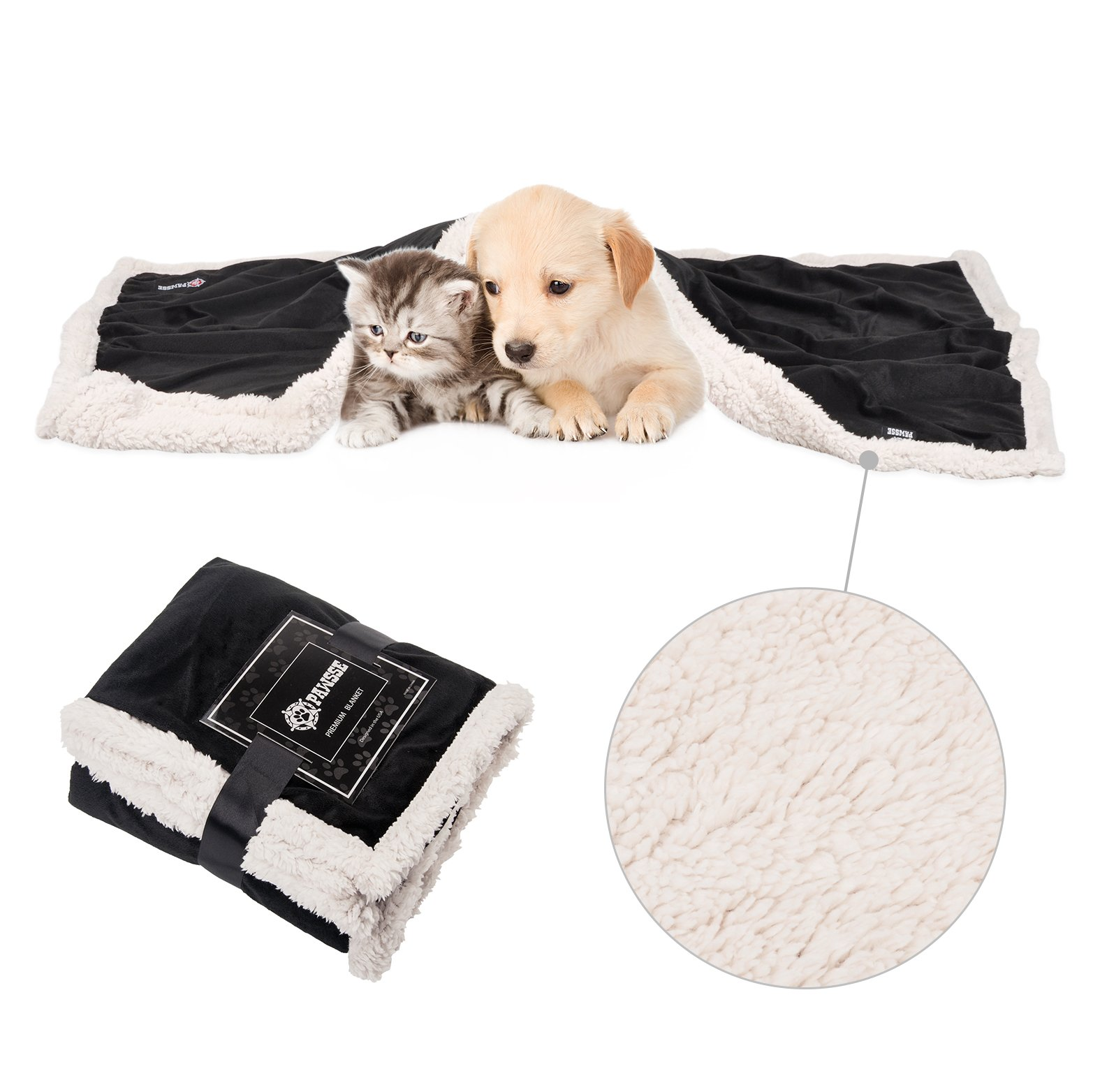 Pawsse Premium Puppy Blanket, Fleece Cat Blanket, Sherpa Throw Pet Mat for Small Animals 114cm x 76cm (45\