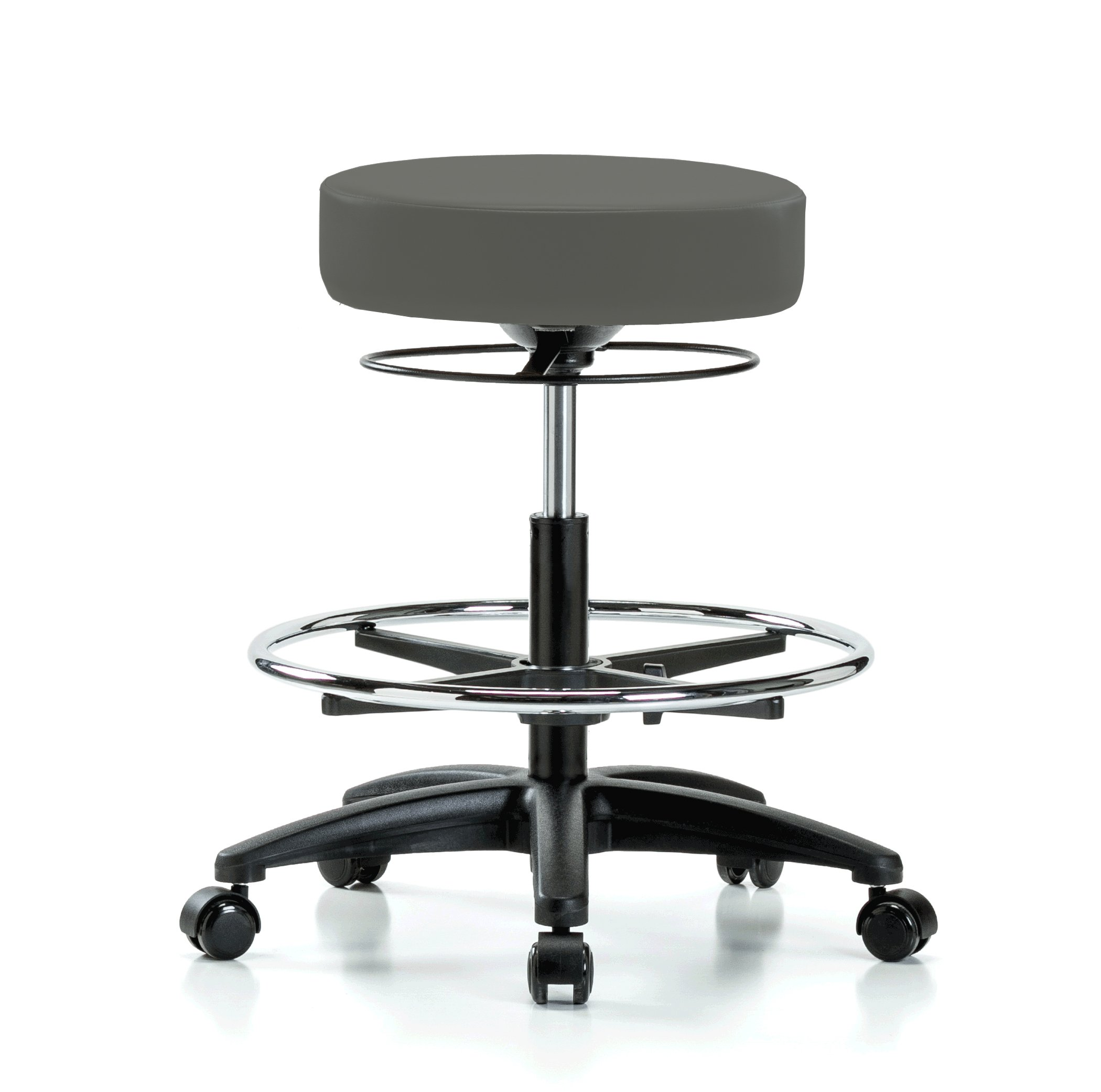 Perch Stella Rolling Adjustable Stool with Footring Medical Salon Spa Massage Tattoo Office 21'' - 28.5'' (Hard Floor Casters/Charcoal Vinyl)