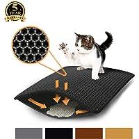 Aurrako Cat Litter Mat Trapper Mat, 75 x 58 cm Honeycomb Double Layer Tapis Litiere Chat, Easy Clean Non Toxic Kitty Litter Mat Suitable for Litter Boxes(Black)