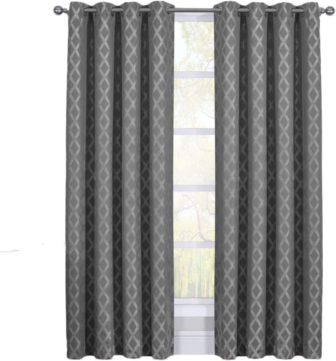 sheetsnthings Rosaline 108-Inch Wide x 108-Inch Long, Set of 2 Jacquard Thermal Insulated Blackout Curtains, Grey