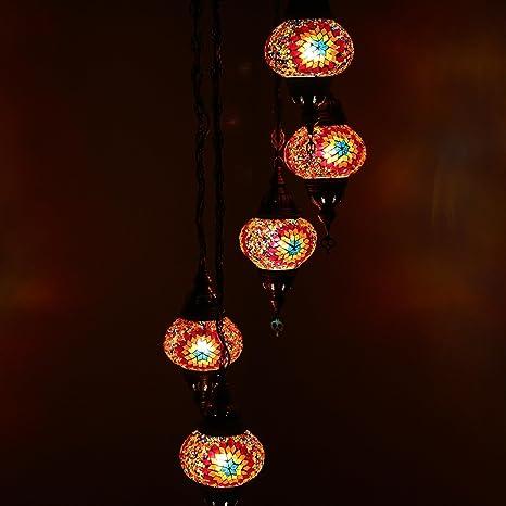 Impresionante Lámpara Colgante De Mosaico Turco, Lámpara ...