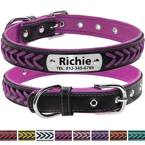 Vcalabashor Collares de Perro Personalizados de Cuero con Placa de ...