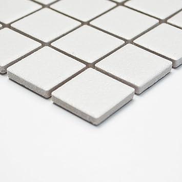 Fliesen Mosaik Mosaikfliese Bad Keramik Quadrat Weiß Matt Bad Küche 6mm Neu  #243