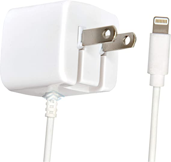 Apple Certified iPhone Lightning Charger - Wall Plug - for iPhone 12 Pro Max Mini 11 XS X XR XS SE 8 Plus 7 6S 6 5S 5 5C - Pins Fold - 2.1a Rapid Power - Take for Travel - White