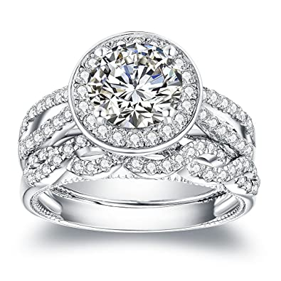 Amazon Com Van Rorsi Mo 2 0ct Round Engagement Wedding Ring Set For