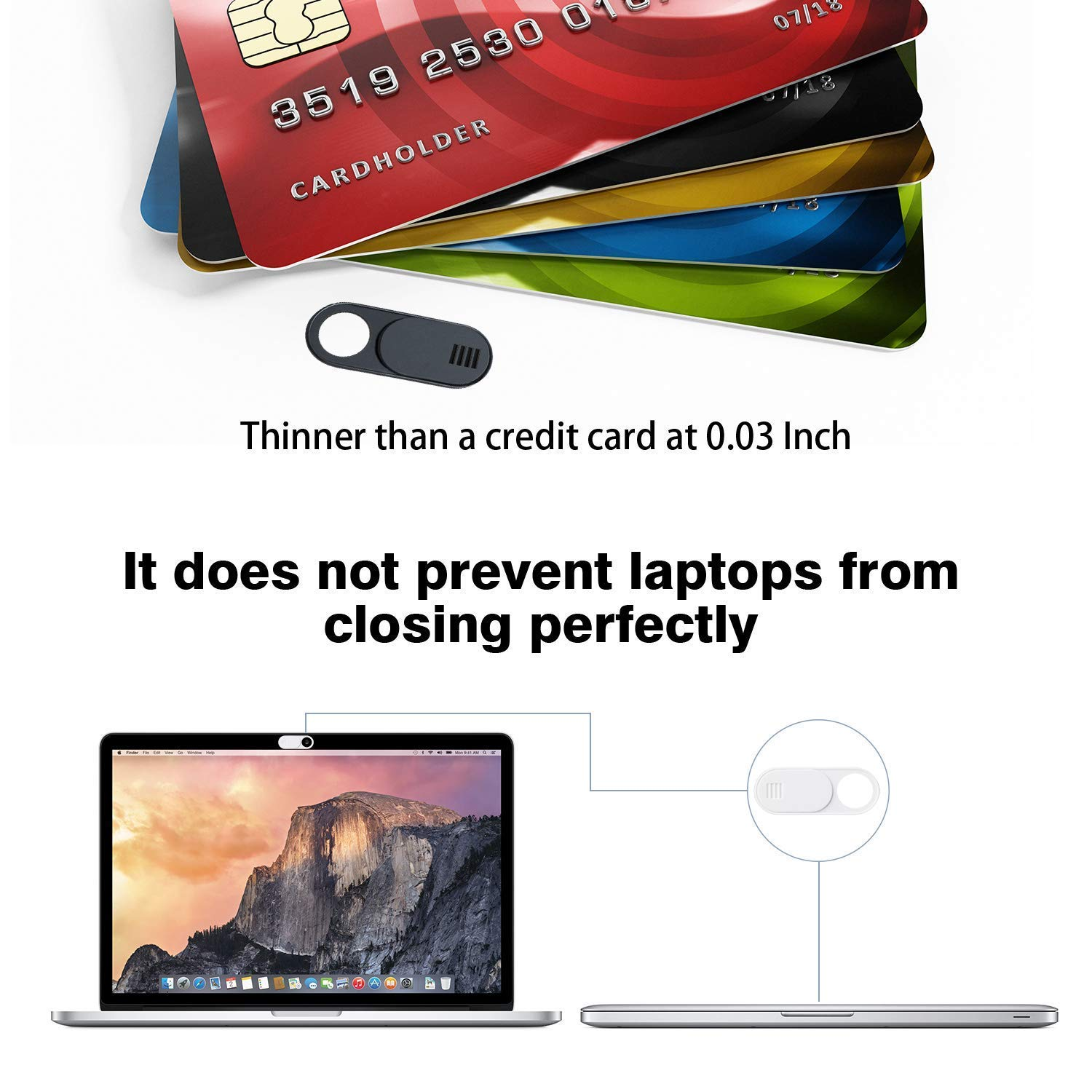 Ultra Thin Metal Magnet Laptop Camera Cover Slide Blocker for Computer MacBook Pro iMac PC Tablet Notebook Surface Pro Echo Show Camera Protecting Your Privacy Security Webcam Cover Slide