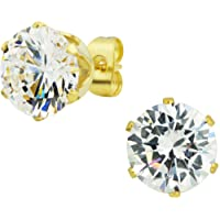6mm - 10mm Gold Plated Surgical Steel Round CZ Stud Earrings for Men