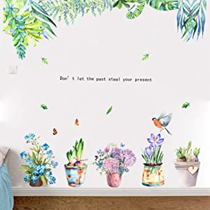 MOLANCIA Colorful Green Hanging Leaf Wall Decals, Succulent Cactus Plants Wall Stickers, Bonsai Removable Nature Murals, Green Potted Plants Wall Art Decor for Kids Room Girl Bedroom Living Room