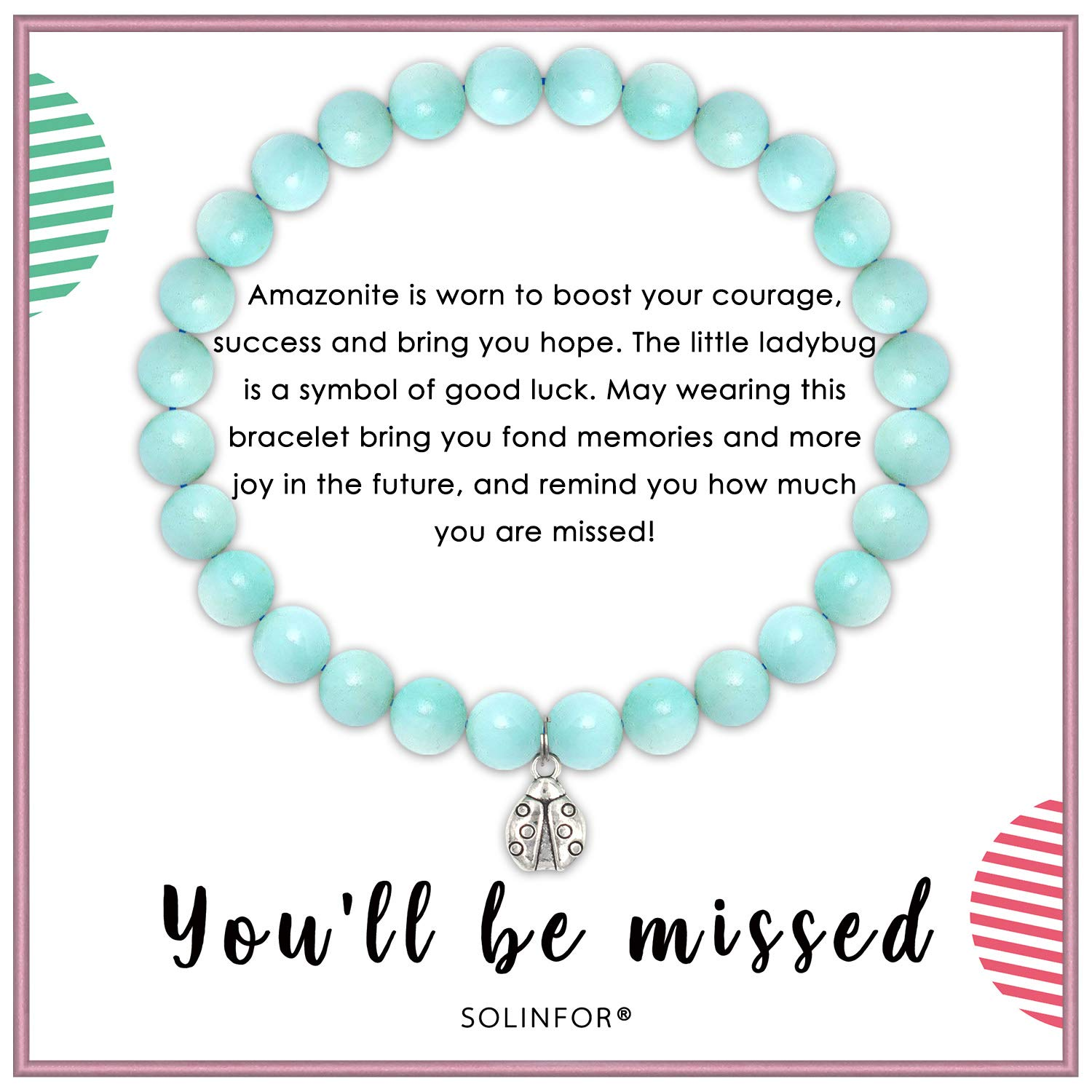 SOLINFOR Coworker Leaving Gifts for Women - Amazonite Beads Farewell Bracelet - Retirement Moving Away Goodbye New Job Good Luck Jewelry Gift Idea for Her Friends Boss by SOLINFOR