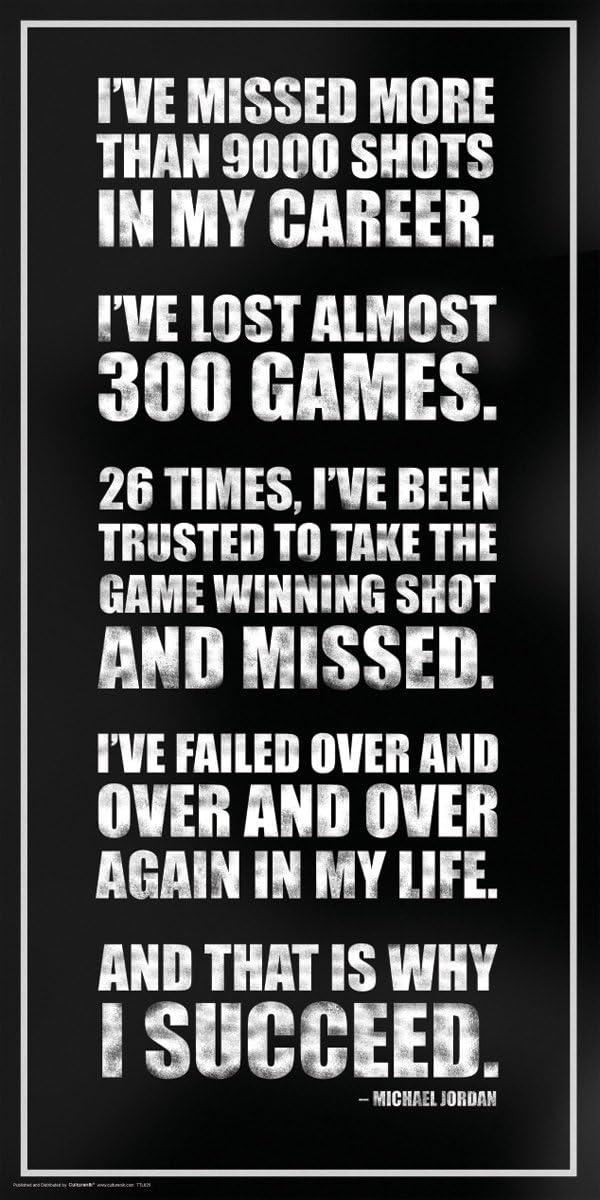 Culturenik Michael Jordan Success Inspirational Motivational Sports Basketball Icon Quote Print Unframed 12x24 Poster