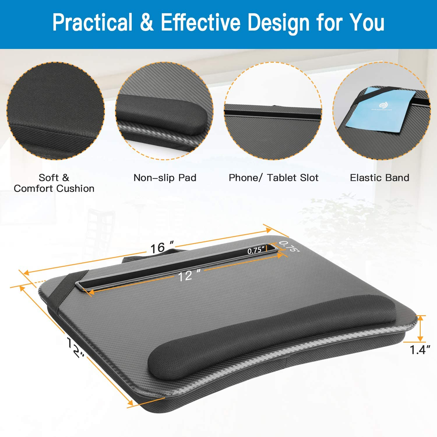 HUANUO Laptop Lap Desk - Fits up to 14 inches Laptop Stand with Phone Holder, Tablet Holder, Portable Lap Desk Built-in Soft Foam Pillow Cushion, Elastic Band,Laptop Stop Bar : Office Products