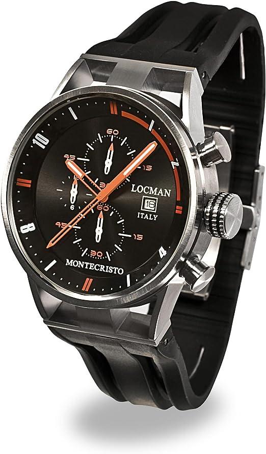 Locman montecristo / orologio uomo / quadrante nero / cassa acciaio e titanio / cinturino gomma nera 051000BKFOR0GOK