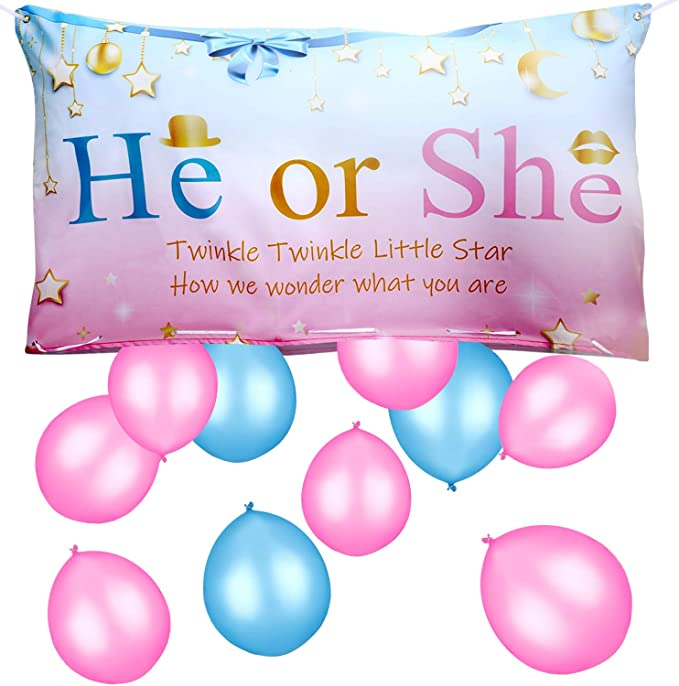 Gejoy Sex Betrayal Party Decoration Sex Betrayal Balloons Traps Bag With Pink And Blue Balloons For Boys Or Girls Sex Party Game Baby Shower Photo Background Pink And Blue Spielzeug