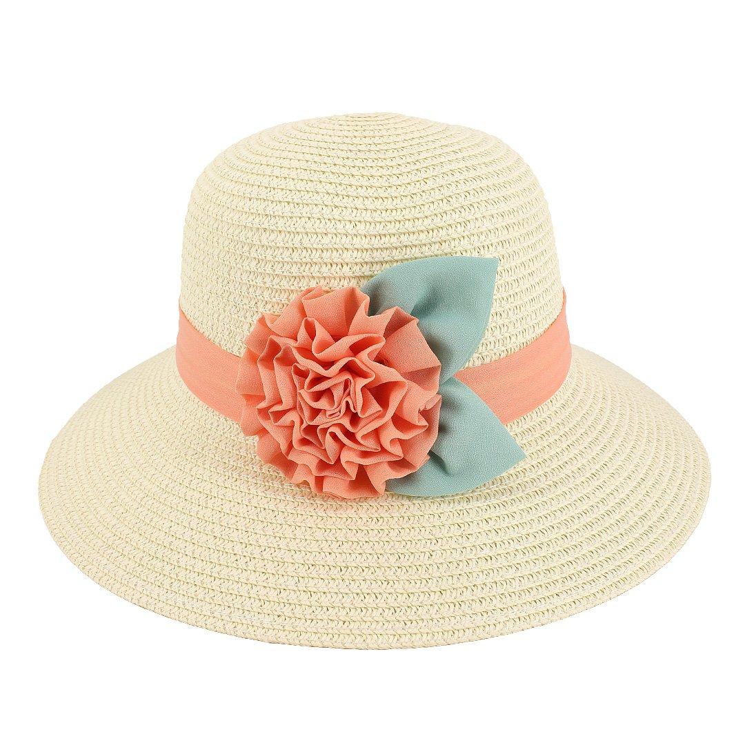 Multifit Girls Flower Ribbon Sunhat Large Brim Beach Bucket Hat(Creamy)